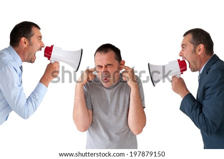 man being yelled at by managers isolated on white - stock photo