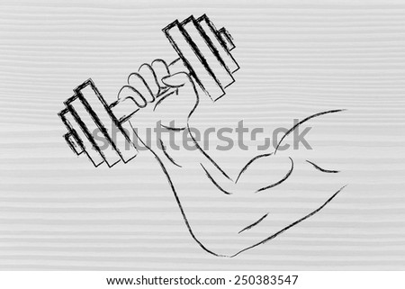 man biceps lifting weights, fitness lifestyle and strength training