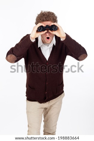man binocolars - stock photo