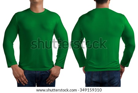 man body in green long sleeves t-shirt isolated on white background, front and back.