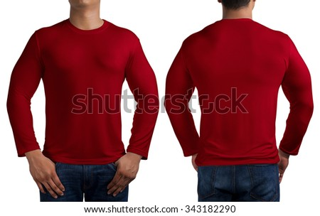 man body in red long sleeves t-shirt isolated on white background, front and back. - stock photo