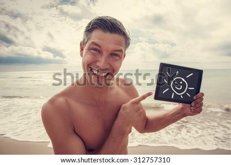 man booking travel jouney online - stock photo