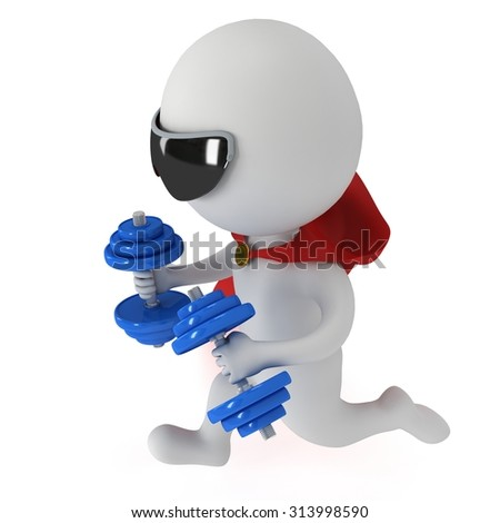 Man brave superhero with red cloak and two dumbbells run forward. Isolated on white 3d render.