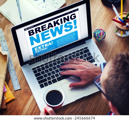 Man Breaking News Top Story Internet Connection Concept - stock photo