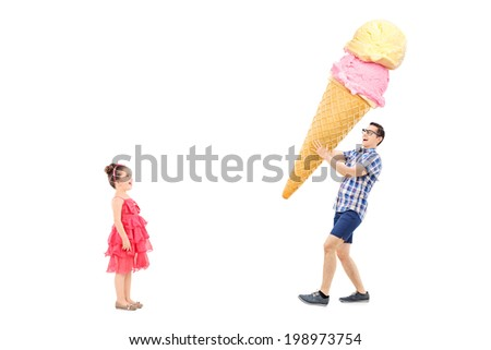 Man bringing huge ice cream to excited girl isolated on white background - stock photo