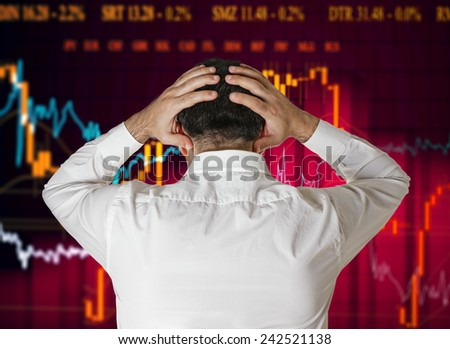 Man broker stock market crash crisis concept - stock photo