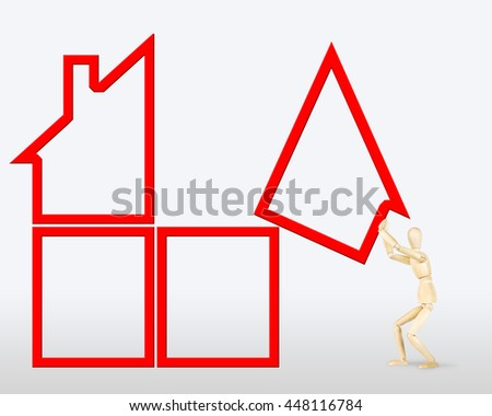 Man builds a house. Abstract image with a wooden puppet - stock photo