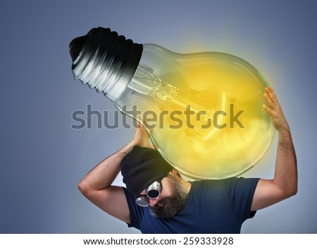 Man busy implementing a great idea - taking action to realize your dreams - stock photo