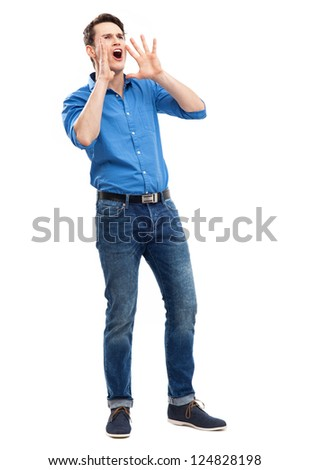 Man calling with hands near his mouth - stock photo