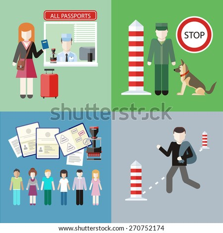 Man carries contraband in bag. Migration control. Group of people with stamps in passports. Woman gives a passport to check customs officers. Customs officer with dog at customs post . Raster version - stock photo