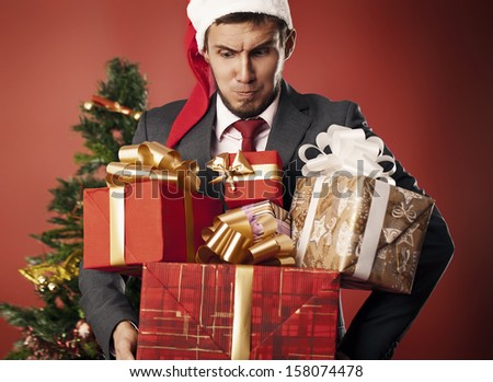 man carries gifts
