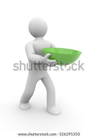 Man carries green bowl