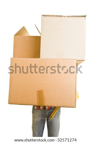 Man carrying huge cardboard boxes - stock photo
