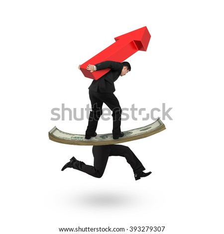 Man carrying red arrow up and balancing on running money with human legs, isolated on white background.