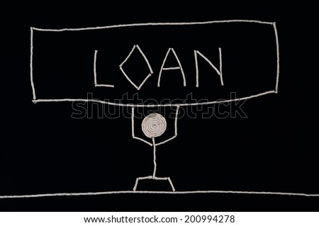 Man carrying the weight of a loan, unusual concept - stock photo