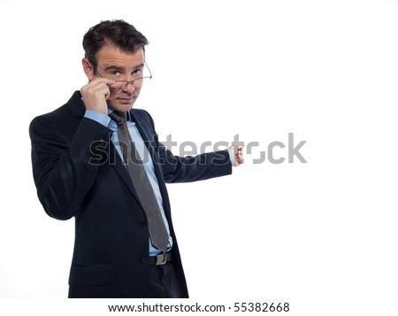 man caucasian teacher professor teaching serious  isolated studio on white background - stock photo