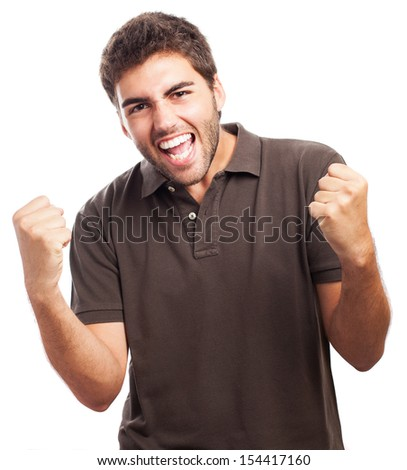 man celebrating a victory on a white background - stock photo