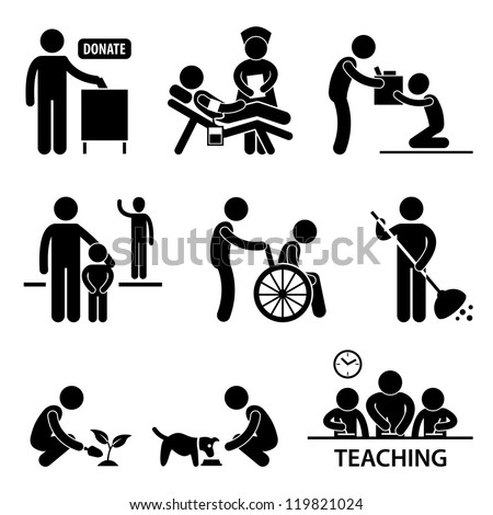 Man Charity Donation Volunteer Helping People Stick Figure Pictogram Icon - stock photo