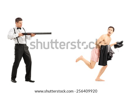 Man chasing a naked guy with rifle isolated on white background - stock photo