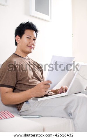 Man checking documents