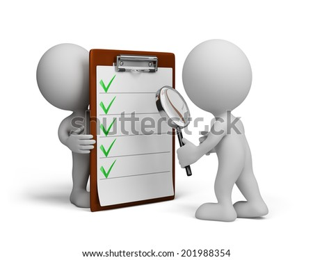 Man checks a checklist with a magnifying glass. 3d image. White background.
