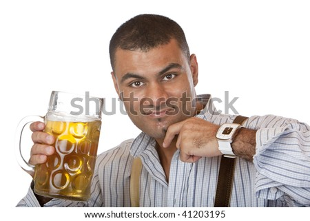 Man cheers with Oktoberfest beer stein into camera. Isolated on white. - stock photo