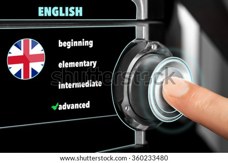 man chooses an advanced level of knowledge of the English language on dashboard - stock photo