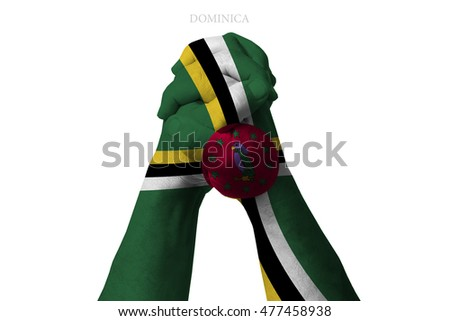 Man clasped hands patterned with the DOMINICA flag