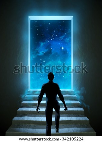 Man climbing a staircase leading to a door over the universe. Digital illustration. - stock photo