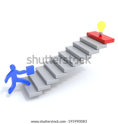 man climbs the stairs behind the idea