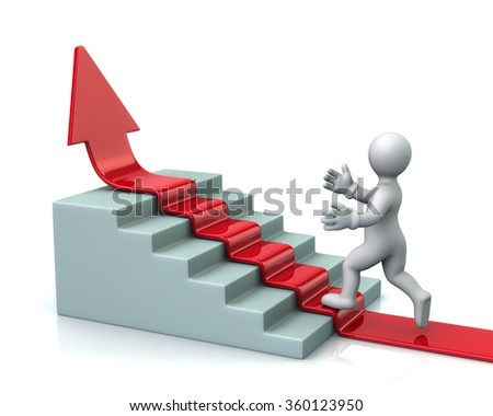 Man climbs up stairs on red arrow isolated on white background - stock photo
