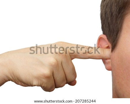man clog his ears with fingers - stock photo