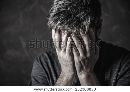 man closed his eyes to pray - stock photo