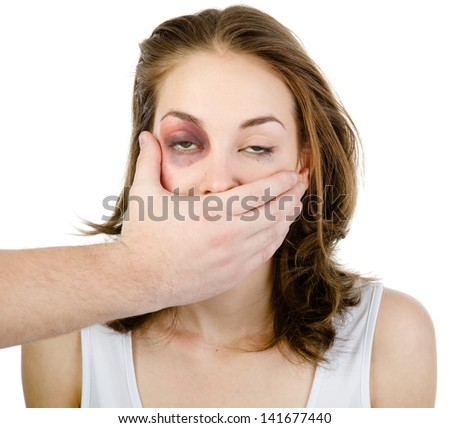 man closes his mouth a drunken woman - stock photo