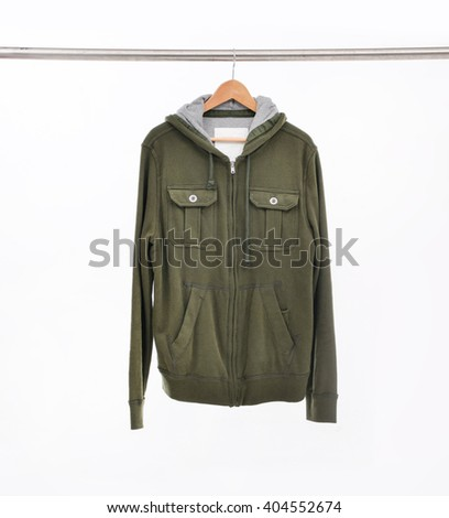 Man clothes on hanger. - stock photo