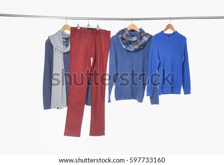 man clothes, with trousers on hangers