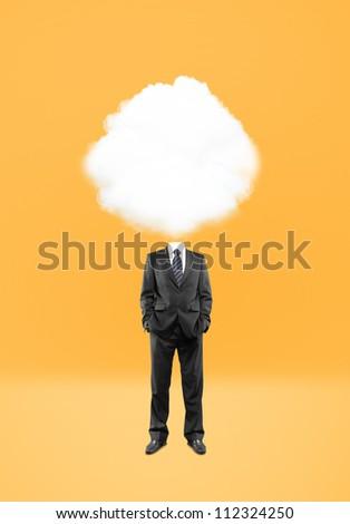 man cloud  head on yellow background - stock photo