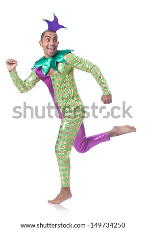 Man clown isolated on white - stock photo