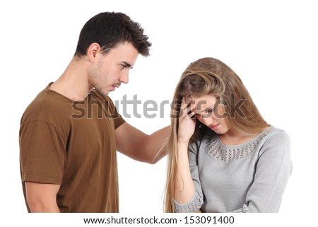 Man comforting  to a woman isolated on a white background