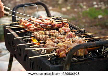Man cooking marinated turkey shashlik on wooden skewer on the grill. Backyard party background. - stock photo