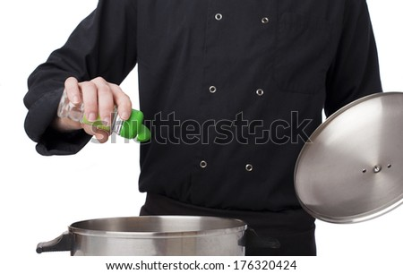 Man cooking on white background - stock photo