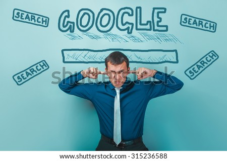 man covered his ears will not hear in the Google search infographics studio background Business Idea - stock photo