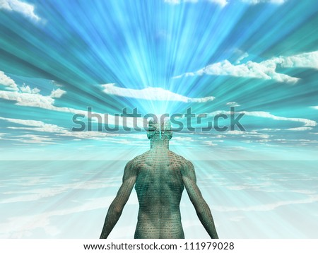 Man covered in text with light radiating from mind - stock photo