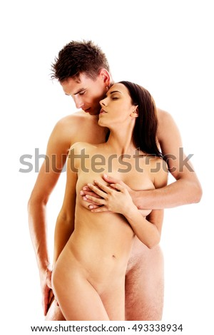 Man covering woman's breast, isolated.