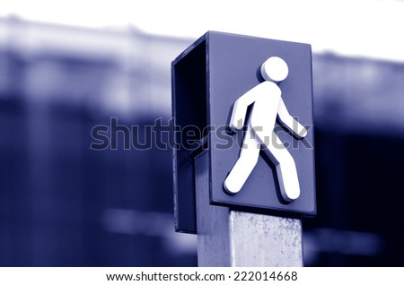 Man crossing sign and symbol. concept photo copyspace