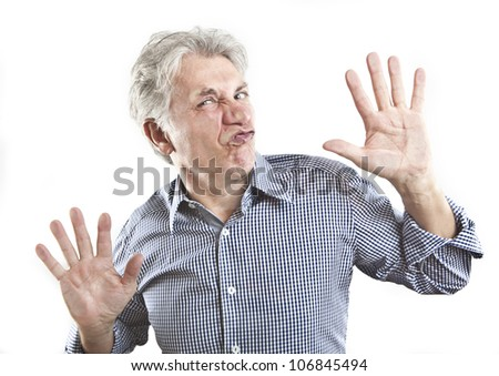 man crushed on glass - stock photo