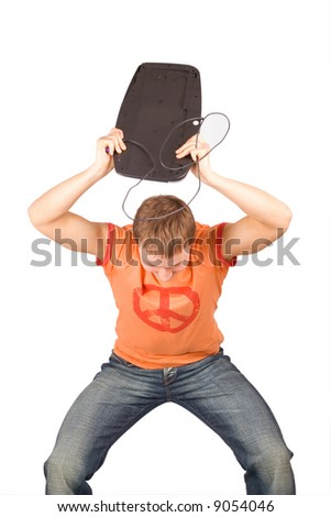 "man crushing a computer parts in rage - See similar images of this ""business people"" series in my portfolio - stock photo"