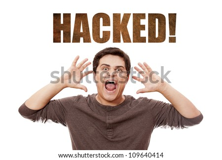 man cry at hacked on background. - stock photo