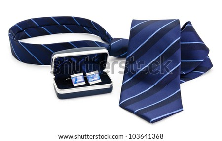 Man cuff links in box and tie  isolated on white