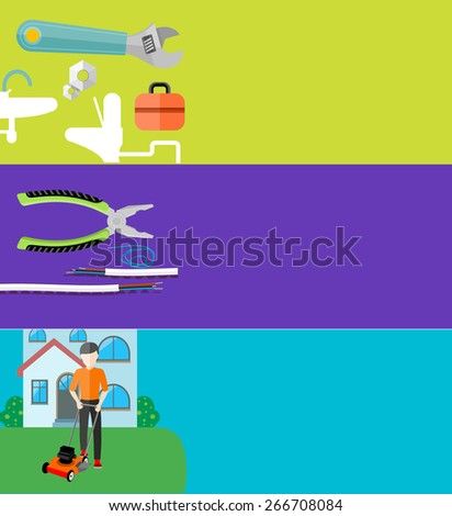 Man cutting grass in his garden yard with lawn mower. Sanitary works. Toolbox and wrench. Electrical work. Metal pliers with tangled blue red electric cable in flat design. Raster version - stock photo